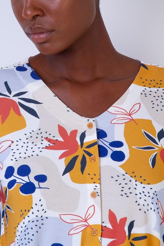 Blusa Sem Cava Vista Botões Solo Florido