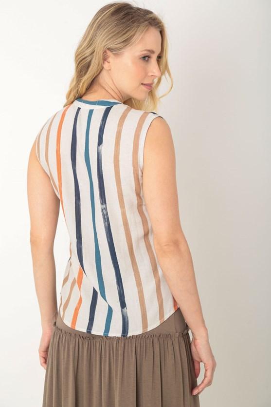 Blusa sem mangas com botões viscose com linho listras bege