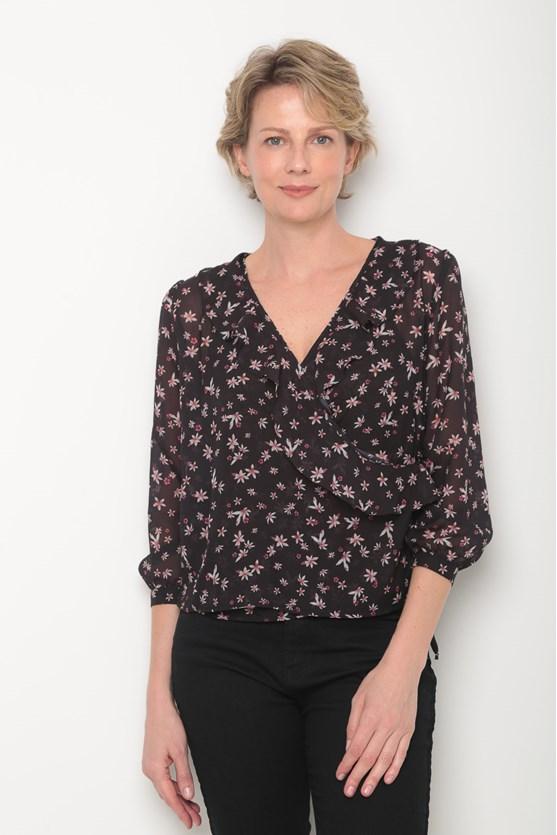 Blusa transpassada estampa florzinhas preto
