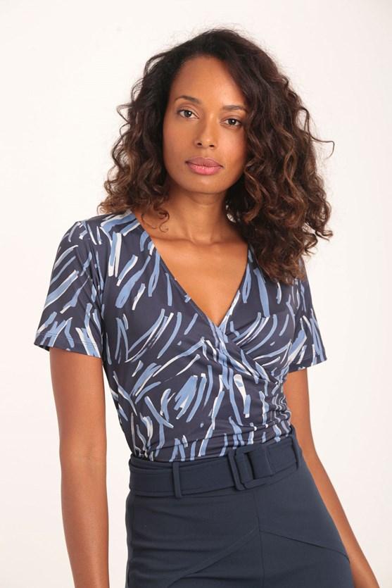 Blusa transpasse manga curta jersey fios azul marinho