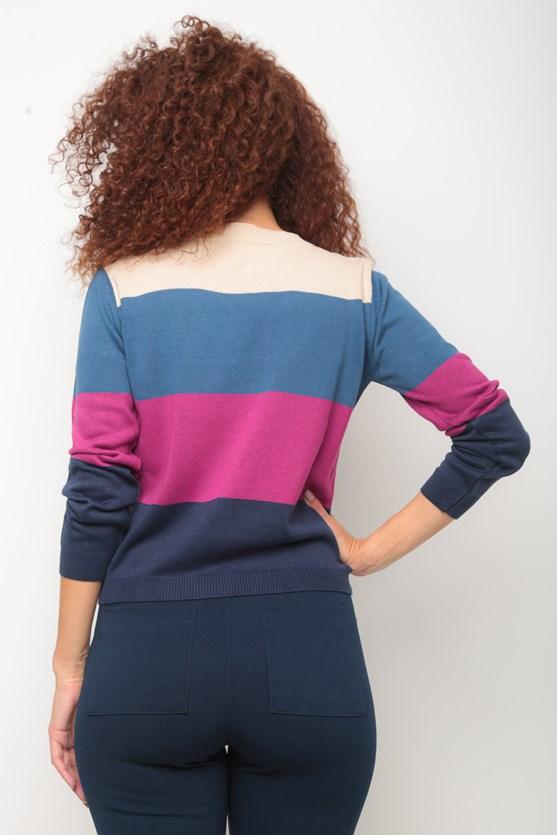 Blusa tricot bloco listras azul