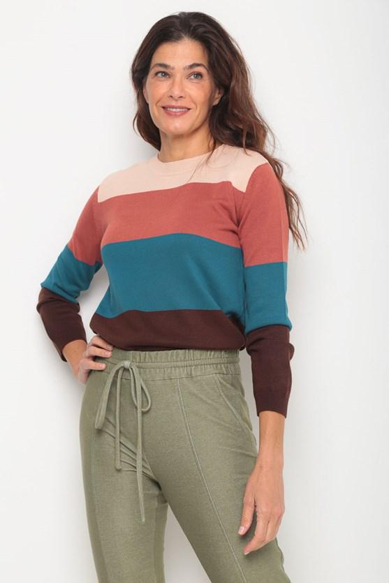 Blusa tricot bloco listras marrom