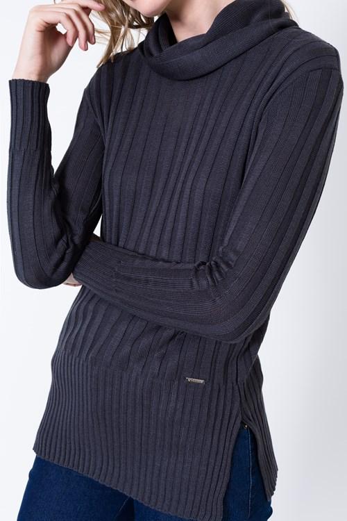 Blusa Tricot Canelada Gola