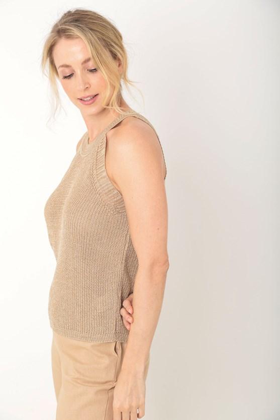 Blusa tricot cava americana bege