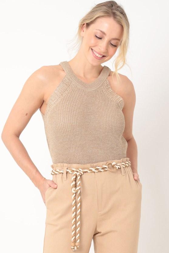Blusa tricot cava americana bg areia