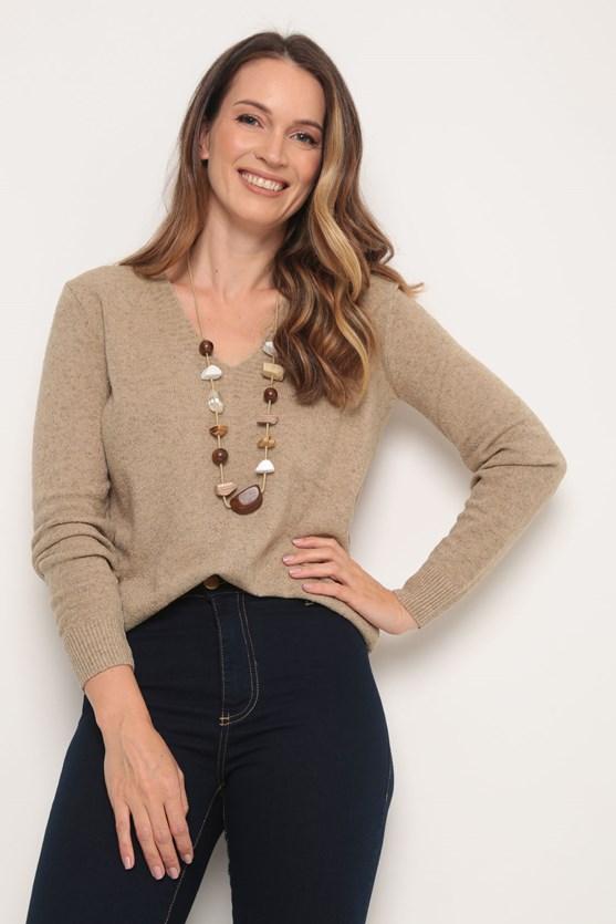 Blusa tricot decote v bege