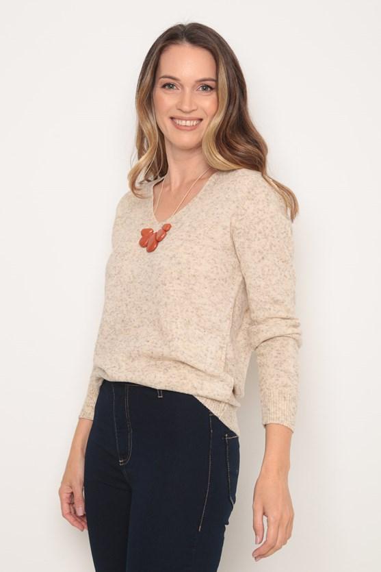 Blusa tricot decote v bege areia