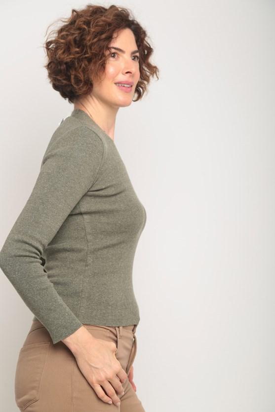Blusa tricot decote v lisa  verde