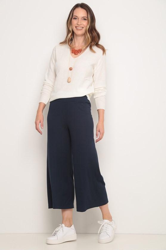 Blusa tricot decote v off white