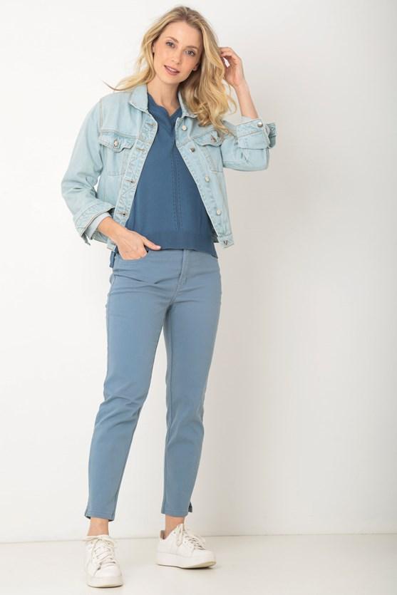 Blusa tricot decote v recorte pontos az azul