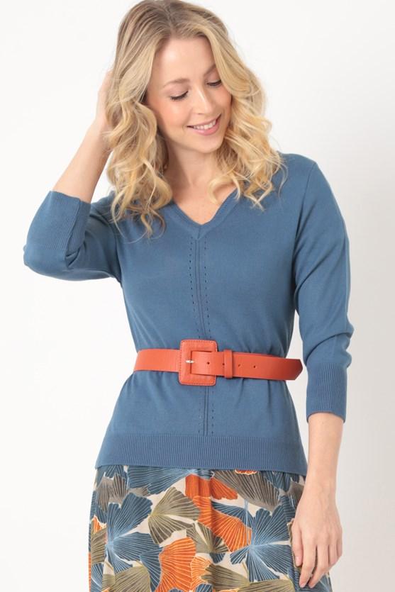 Blusa tricot decote v recorte pontos azul