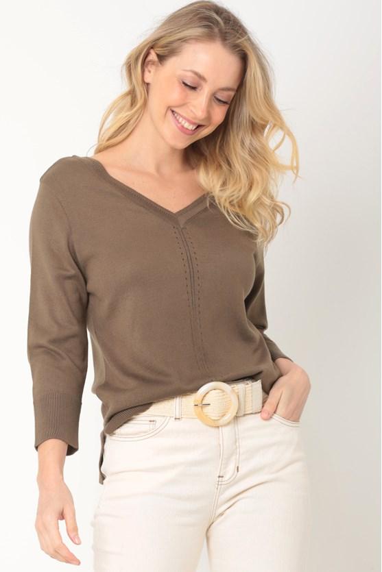Blusa tricot decote v recorte pontos caqui