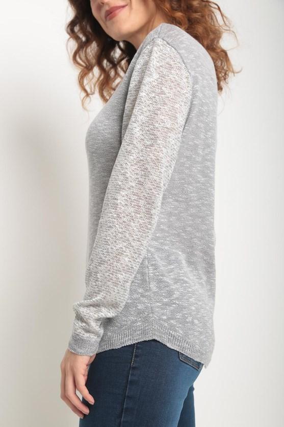Blusa tricot flame mangas mescladas cinza