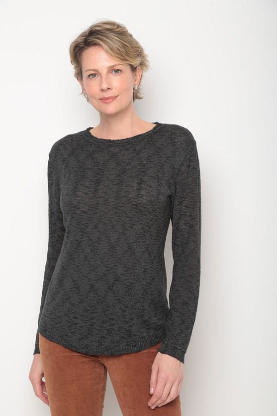 Blusa tricot flame mangas mescladas preto