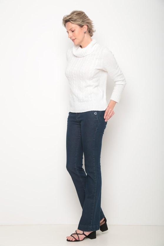 Blusa tricot gola alta trança off white