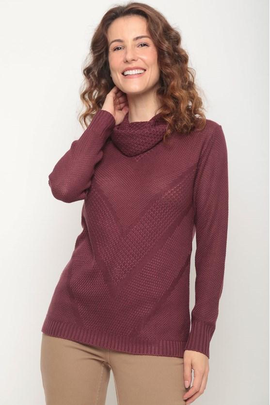 Blusa tricot gola caída pontos vinho