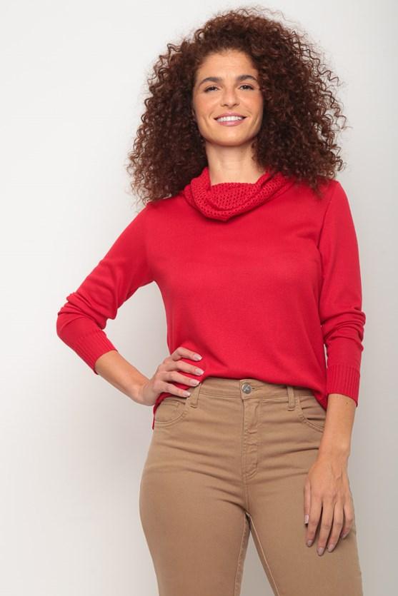 Blusa tricot lisa gola caida ponto aberto vermelho