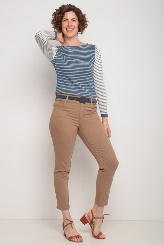 Blusa tricot listrada az azul