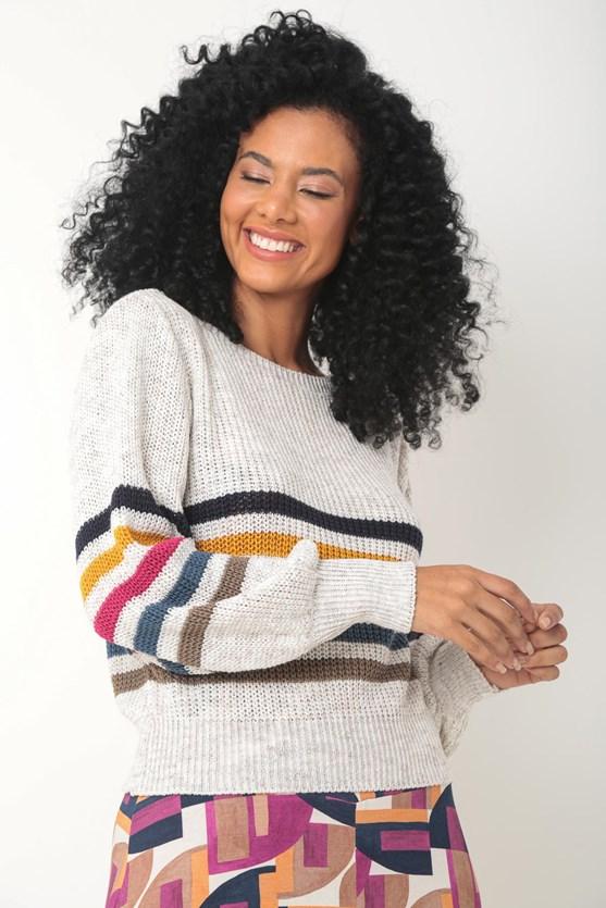 Blusa tricot listras color volume punho off white