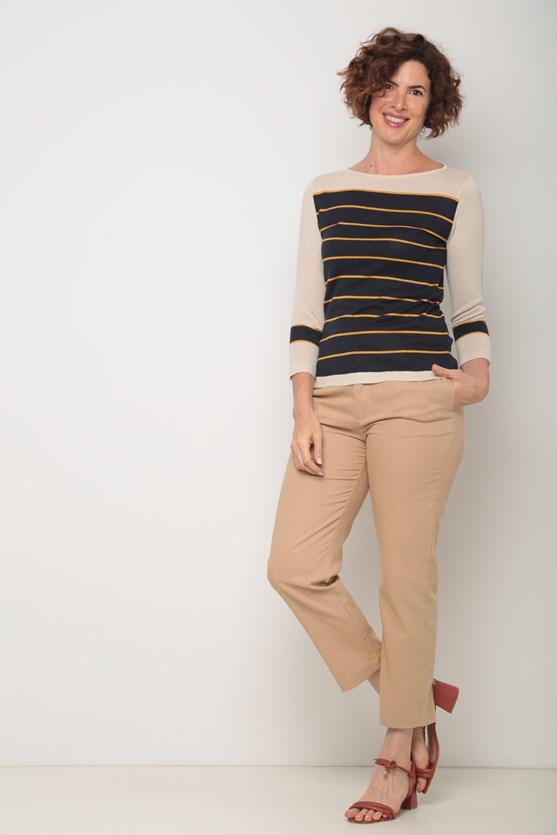 Blusa tricot listras largas  azul marinho