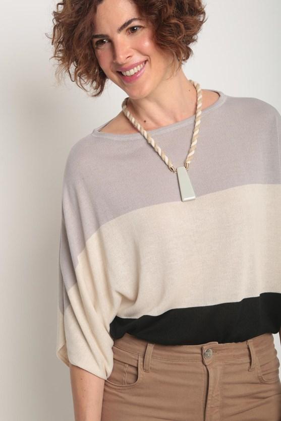 Blusa tricot listras largas cinza