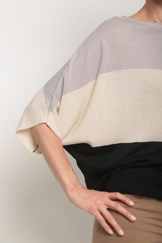 Blusa tricot listras largas cz cinza