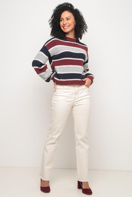 Blusa tricot listras largas decote fechado azul marinho