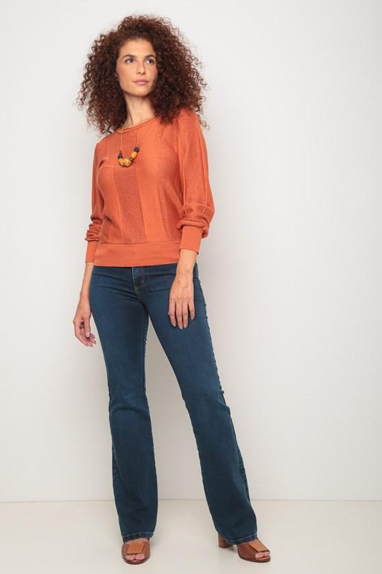 Blusa tricot listras largas lurex laranja