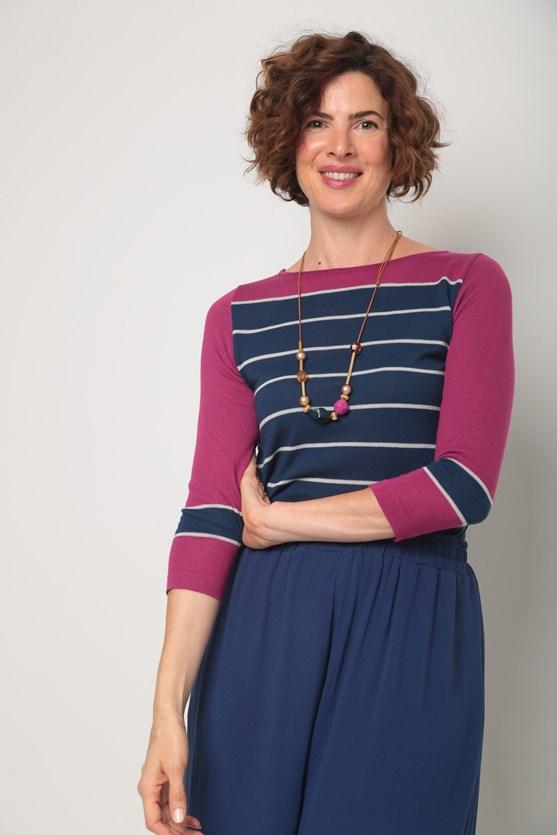 Blusa tricot listras largas  rosa