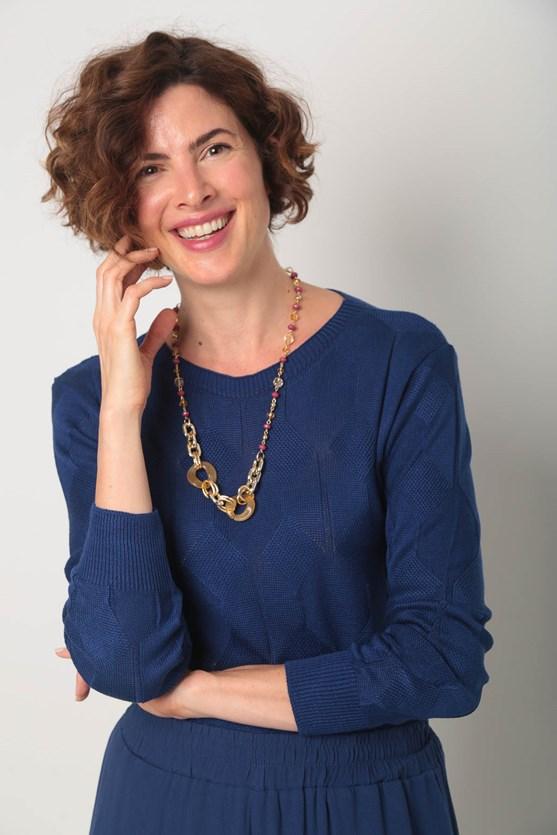 Blusa tricot losango azul