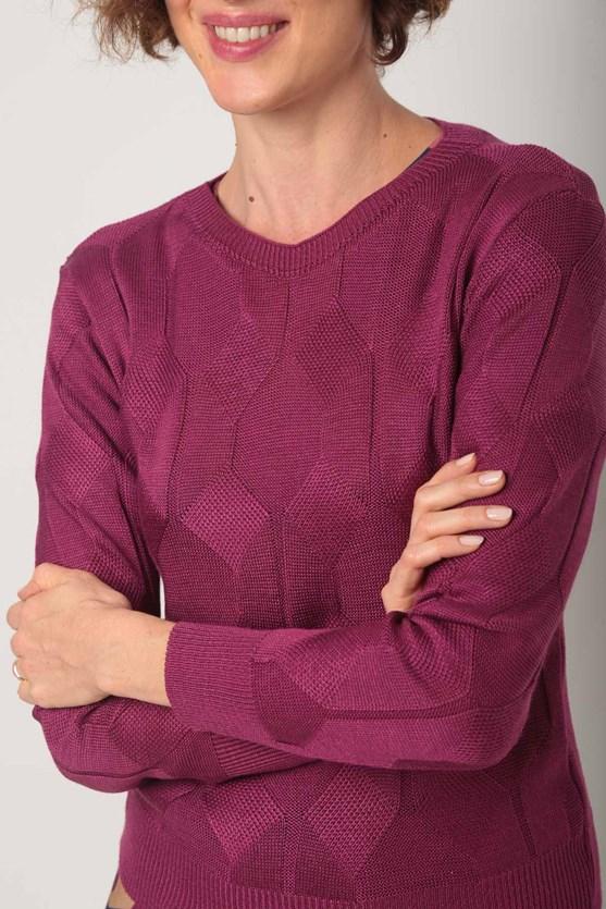 Blusa tricot losango rosa pink