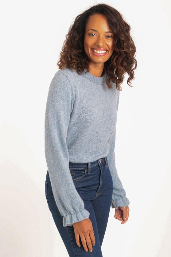 Blusa tricot manga longa detalhe lástex azul claro