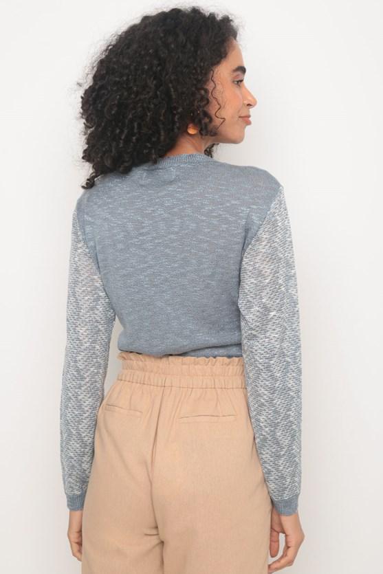 Blusa tricot manga longa flamê azul