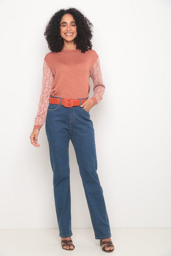 Blusa tricot manga longa flamê laranja