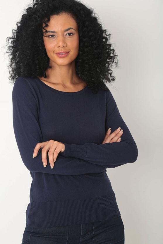 Blusa tricot punhos azul marinho