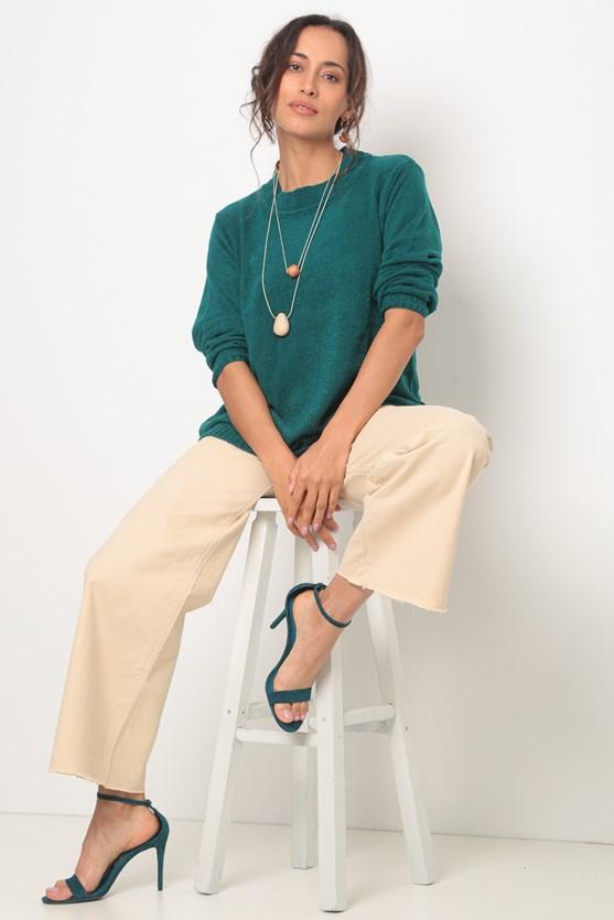 Blusa tricot toque macio verde