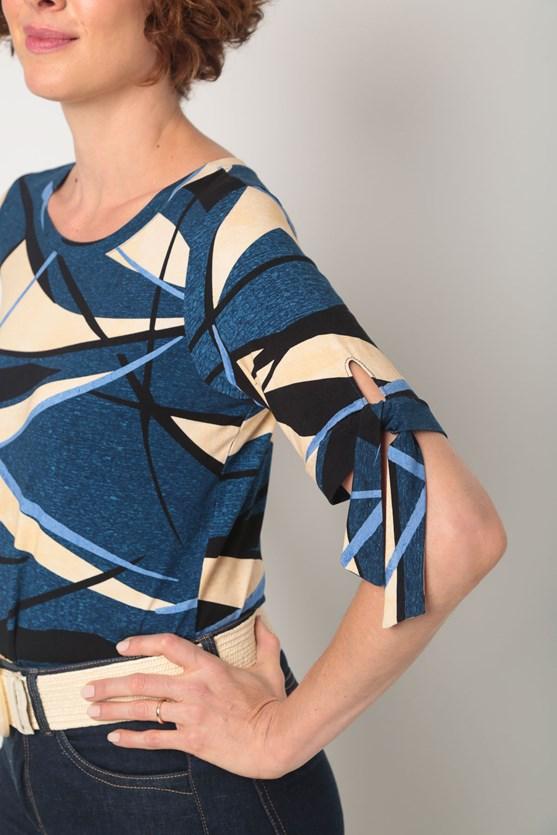 Blusa viscolycra amarração manga estampa diversas az azul