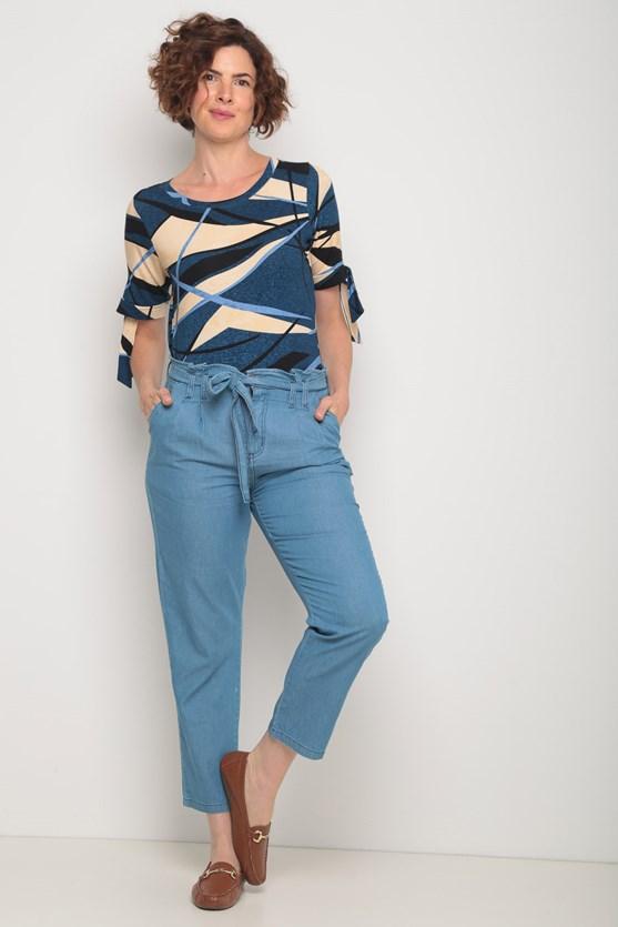Blusa viscolycra amarração manga estampa diversas azul