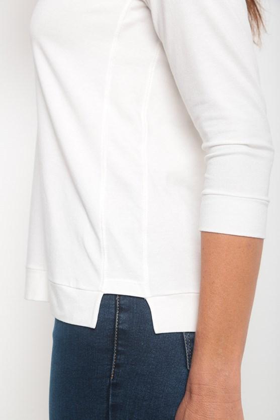 Blusa viscolycra decote u manga 3/4 off white