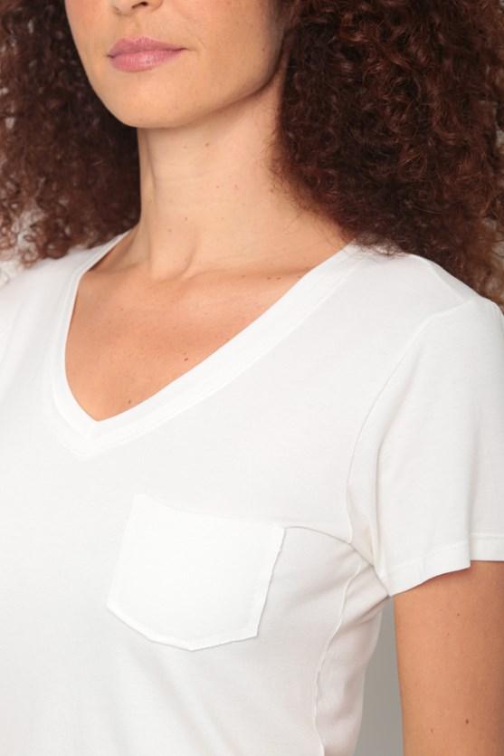 Blusa viscolycra decote v duplo a fio off white