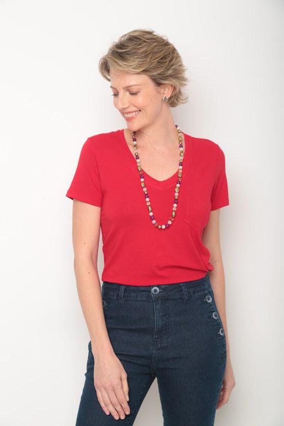 Blusa viscolycra decote v duplo a fio vermelho