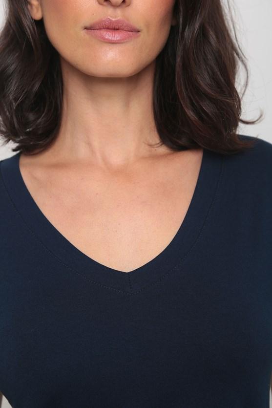 Blusa viscolycra decote v manga curta azul marinho