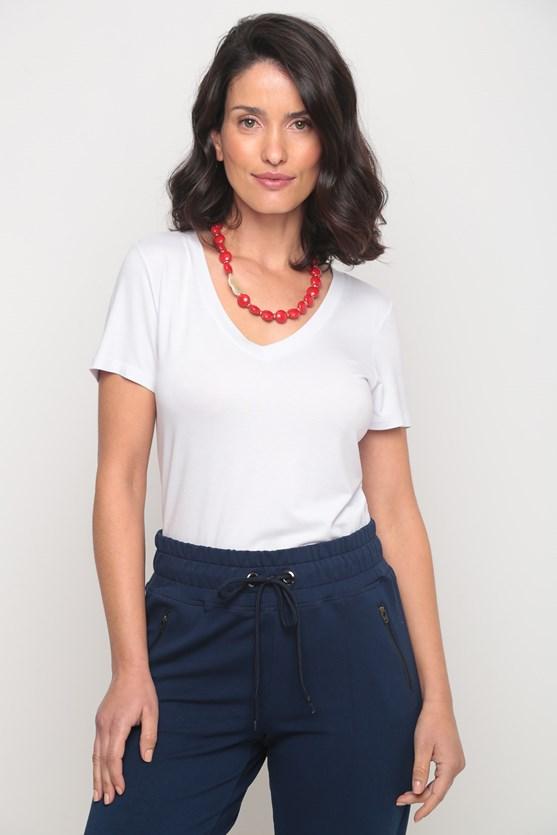 Blusa viscolycra decote v manga curta branco