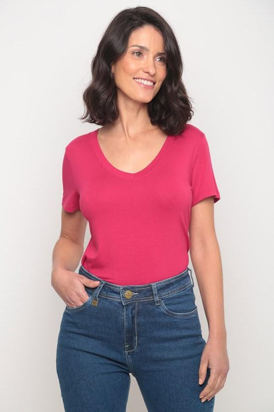 Blusa viscolycra decote v manga curta rosa pink