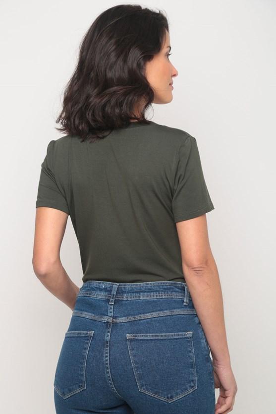 Blusa viscolycra decote v manga curta verde militar