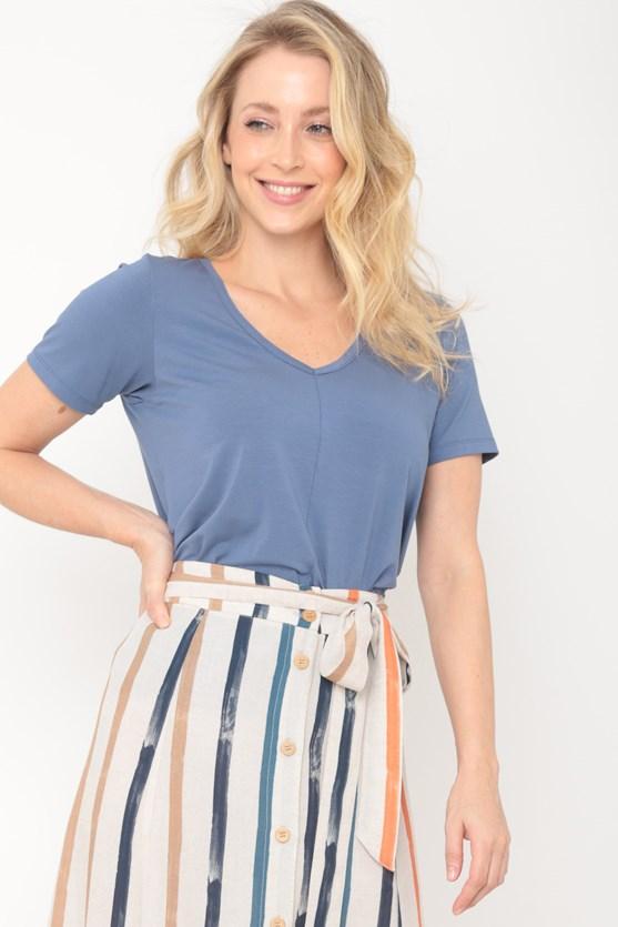 Blusa viscolycra decote v recorte frente  az azul