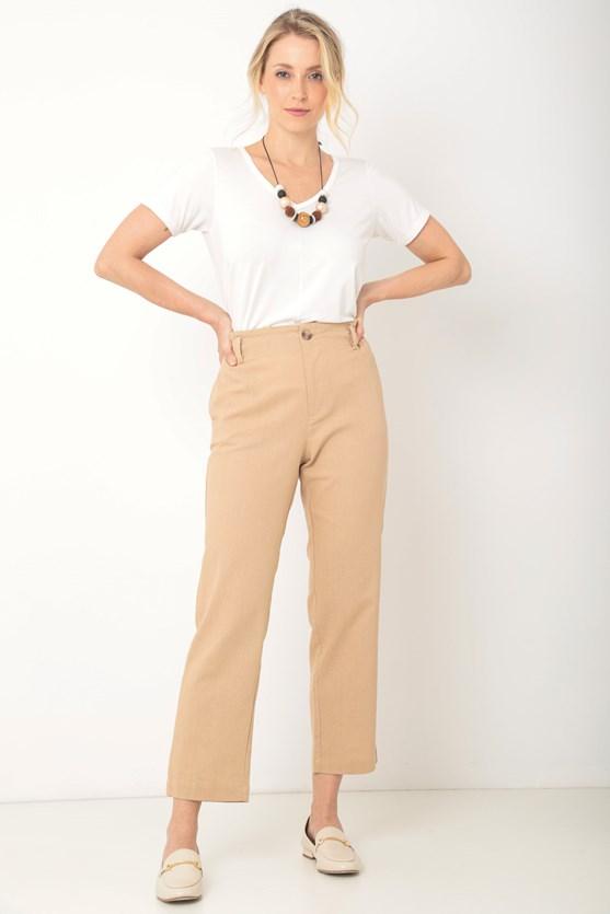 Blusa viscolycra decote v recorte frente off white
