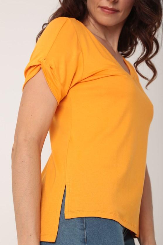 Blusa viscolycra detalhe manga decote v amarelo