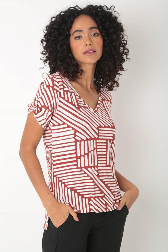 Blusa viscolycra detalhe manga decote v bege