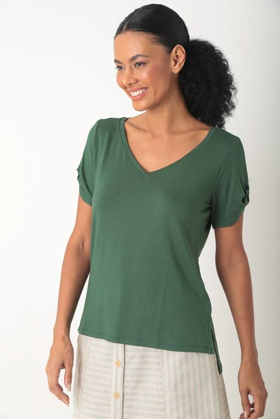 Blusa viscolycra detalhe manga decote v verde